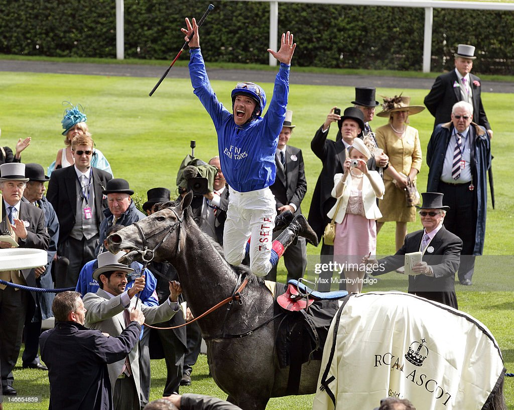 <a gi-track='captionPersonalityLinkClicked' href=/galleries/search?phrase=Frankie+Dettori&family=editorial&specificpeople=167142 ng-click='$event.stopPropagation()'>Frankie Dettori</a> jumps off Opinion Pole after winning The Gold Cup horse race on Ladies Day during Royal Ascot at Ascot Racecourse on June 21, 2012 in Ascot, England.