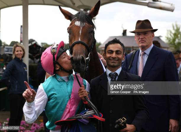 Frankie Dettori Kisses Enable after winning The Darley Yorkshire Oaks during Darley Yorkshire Oaks and Ladies Day of the Yorkshire Ebor Festival at...