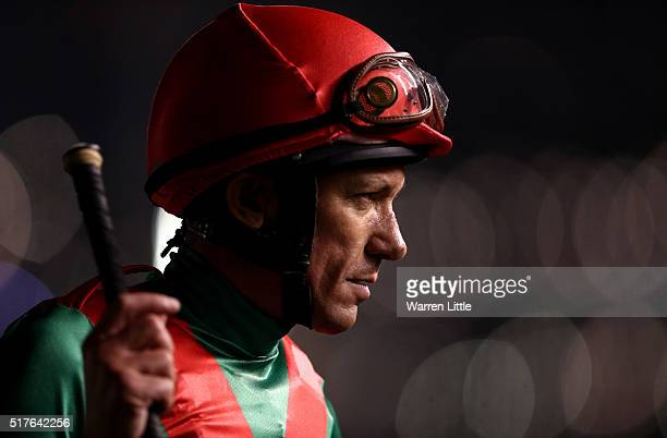 Frankie Dettori looks on duirng the Dubai World Cup at the Meydan Racecourse on March 26 2016 in Dubai United Arab Emirates