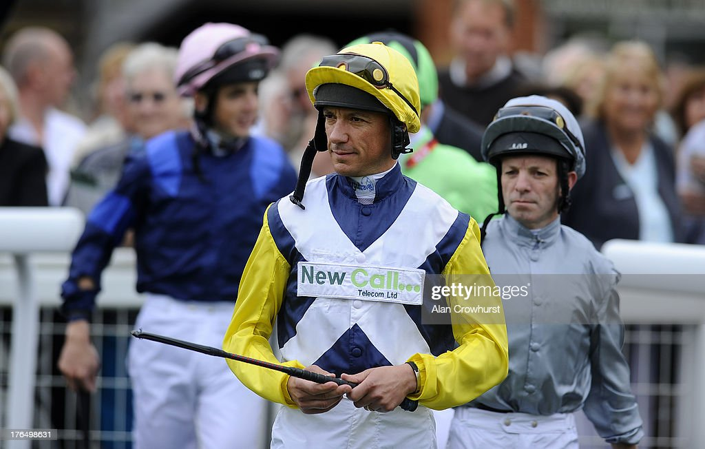 <a gi-track='captionPersonalityLinkClicked' href=/galleries/search?phrase=Frankie+Dettori&family=editorial&specificpeople=167142 ng-click='$event.stopPropagation()'>Frankie Dettori</a> makes his way into the parade ring at Salisbury racecourse on August 14, 2013 in Salisbury, England.