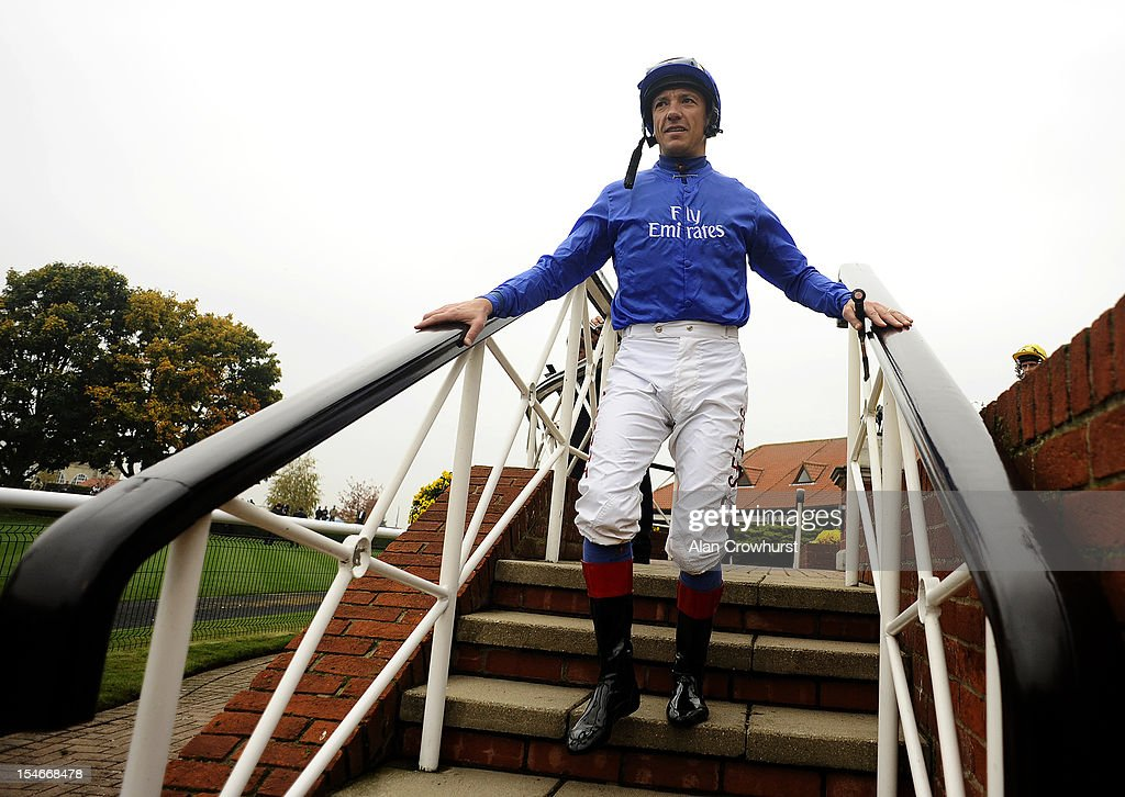 <a gi-track='captionPersonalityLinkClicked' href=/galleries/search?phrase=Frankie+Dettori&family=editorial&specificpeople=167142 ng-click='$event.stopPropagation()'>Frankie Dettori</a> makes his way into the parade ring in Godolphin colours after it was announced he would not be a retained jockey for them in 2013 and would be going freelance, at Newmarket racecourse on October 24, 2012 in Newmarket, England.