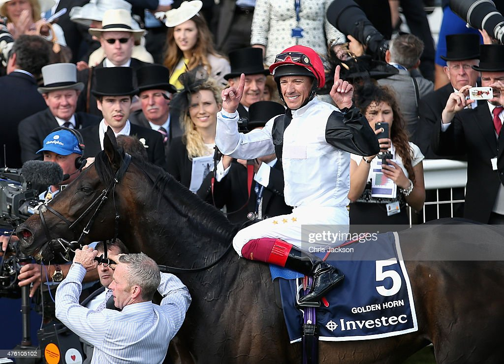 Frankie Dettori on his horse Golden Horn after winning the Derby at the Investec Derby festival at Epsom Racecourse on June 6 2015 in Epsom England