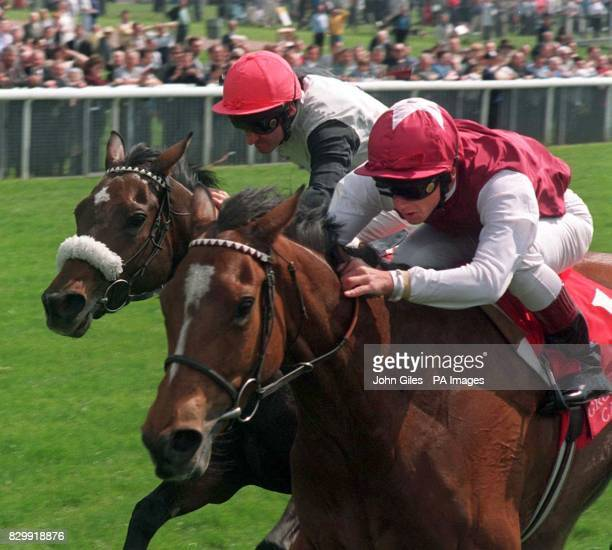 Frankie Dettori on Papering gets home ahead of Charlotte Corday and Michael Hills to win the Grosvenor Casinos Middleton Stakes at York Races...