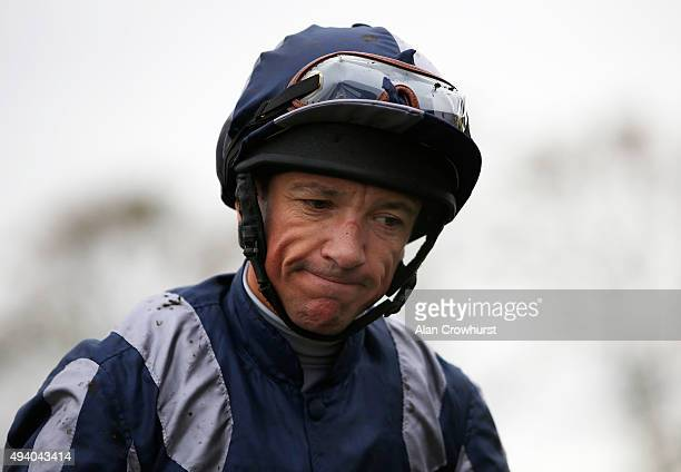 Frankie Dettori poses at Doncaster racecourse on October 24 2015 in Doncaster England