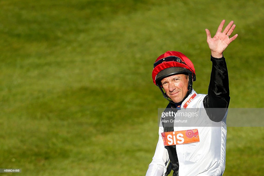 Frankie Dettori poses at Newmarket racecourse on April 15 2015 in Newmarket England