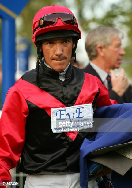 Frankie Dettori returns to the weighing room after ridding Abwaab in The Cannon Kirk Handicap Stakes Race run at Windsor Racecourse on June 4 in...