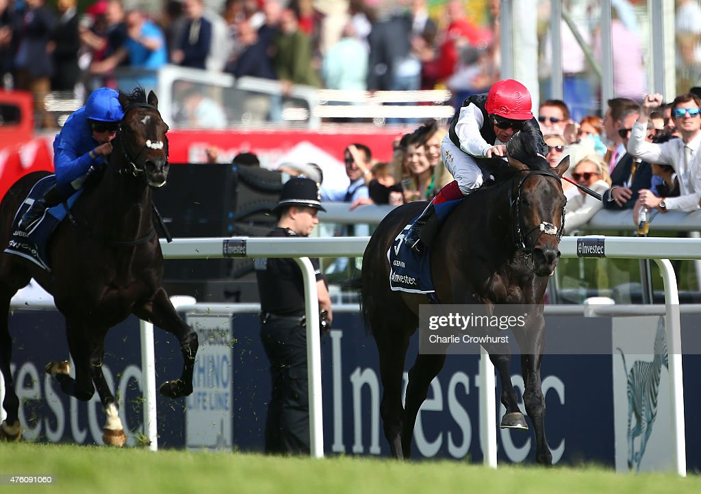 Frankie Dettori rides Golden Horn to win The Investec Derby at Epsom racecourse on June 06 2015 in Epsom England