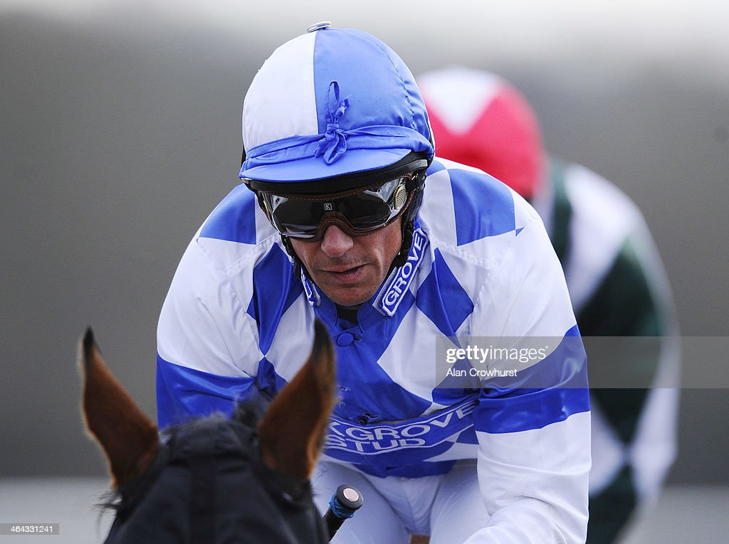 <a gi-track='captionPersonalityLinkClicked' href=/galleries/search?phrase=Frankie+Dettori&family=editorial&specificpeople=167142 ng-click='$event.stopPropagation()'>Frankie Dettori</a> riding Eco Warrior on their way to winning The coral.co.uk Median Auction Maiden Stakes on his comeback ride after breaking his ankle at Lingfield racecourse on January 22, 2014 in Lingfield, England.