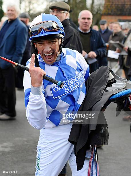 Frankie Dettori riding Eco Warrior returns after winning The coralcouk Median Auction Maiden Stakes on his comeback ride after breaking his ankle at...