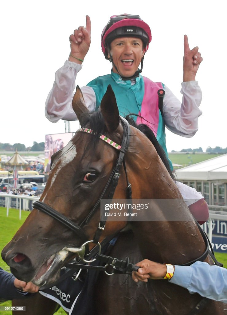 Frankie Dettori, riding Enable, celebrates winning the Investec Oaks race during Ladies Day of the 2017 Investec Derby Festival at The Jockey Club's Epsom Downs Racecourse at Epsom Racecourse on June 2, 2017 in Epsom, England.