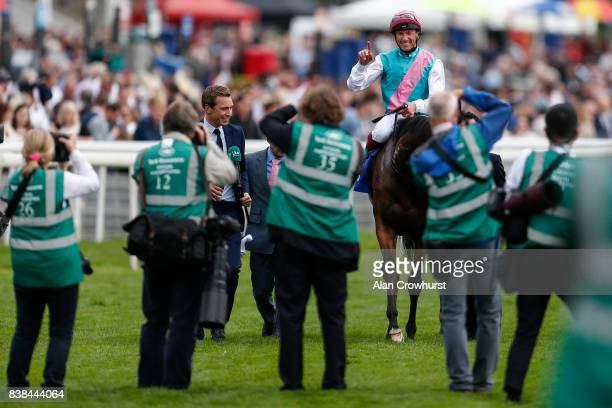 Frankie Dettori riding Enable in front of photographers after winning The Darley Yorkshire Oaks at York racecourse on August 24 2017 in York England