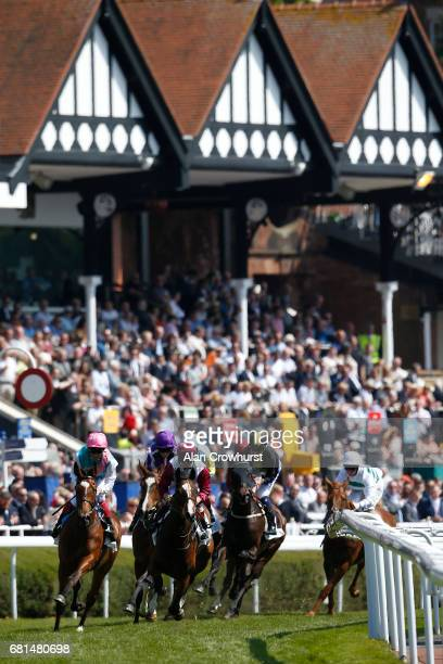 Frankie Dettori riding Enable turn away from the grandstands before winning The Arkle Finance Cheshire Oaks at Chester Racecourse on May 10 2017 in...