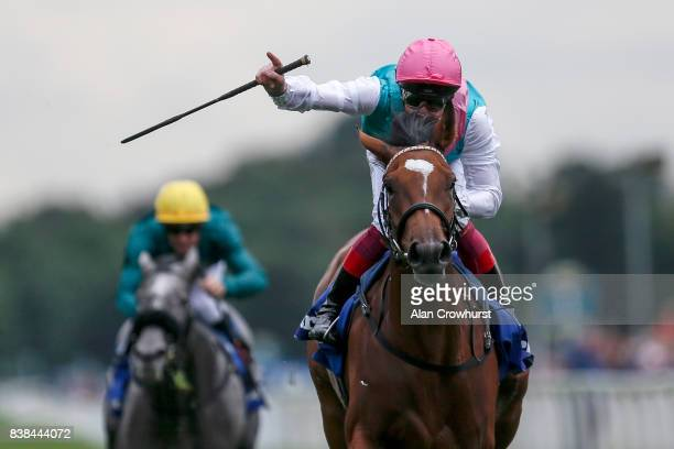 Frankie Dettori riding Enable win The Darley Yorkshire Oaks at York racecourse on August 24 2017 in York England