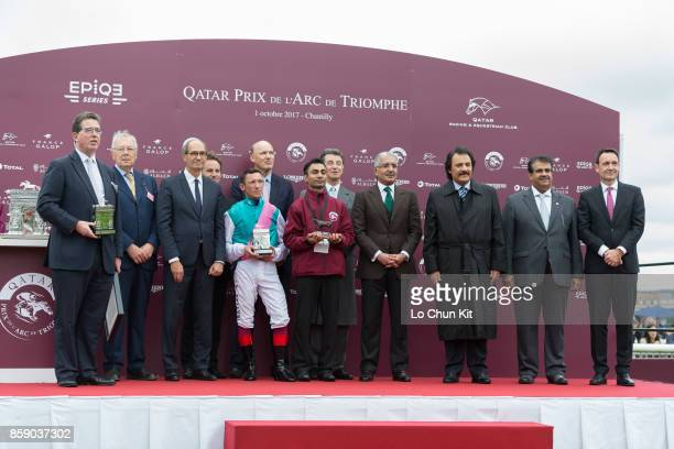 Frankie Dettori riding Enable wins the 96th Qatar Prix de l'Arc de Triomphe at Chantilly racecourse on October 1 2017 in Chantilly France Winning...