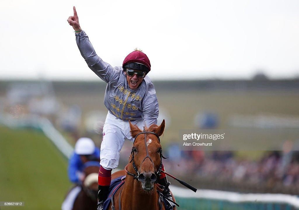 Frankie Dettori riding Galileo Gold win The Qipco 2000 Guineas Stakes at Newmarket racecourse on April 30, 2016 in Newmarket, England.