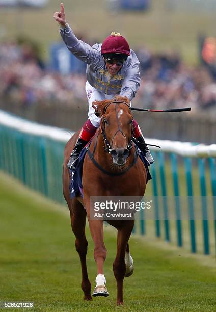 Frankie Dettori riding Galileo Gold win The Qipco 2000 Guineas Stakes at Newmarket racecourse on April 30 2016 in Newmarket England