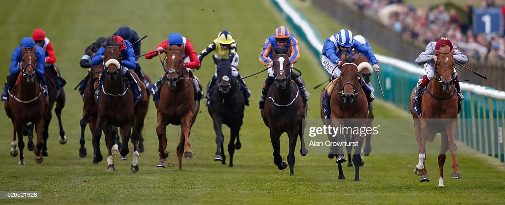 Frankie Dettori riding Galileo Gold (R) win The Qipco 2000 Guineas Stakes at Newmarket racecourse on April 30, 2016 in Newmarket, England.
