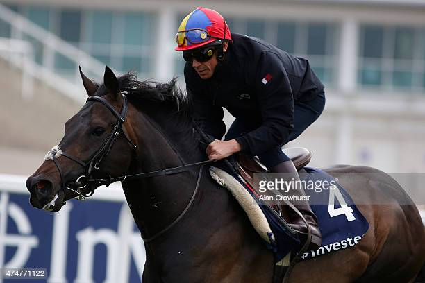 Frankie Dettori riding Golden Horn during the 'Breakfast With The Stars' morning at Epsom racecourse on May 26 2015 in Epsom England