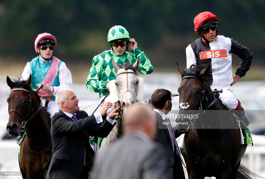 Frankie Dettori riding Golden Horn returns after finishing second in The Juddmonte International Stakes at York racecourse on August 19 2015 in York...