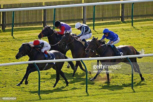 Frankie Dettori riding Golden Horn win The Feilden Stakes at Newmarket racecourse on April 15 2015 in Newmarket England
