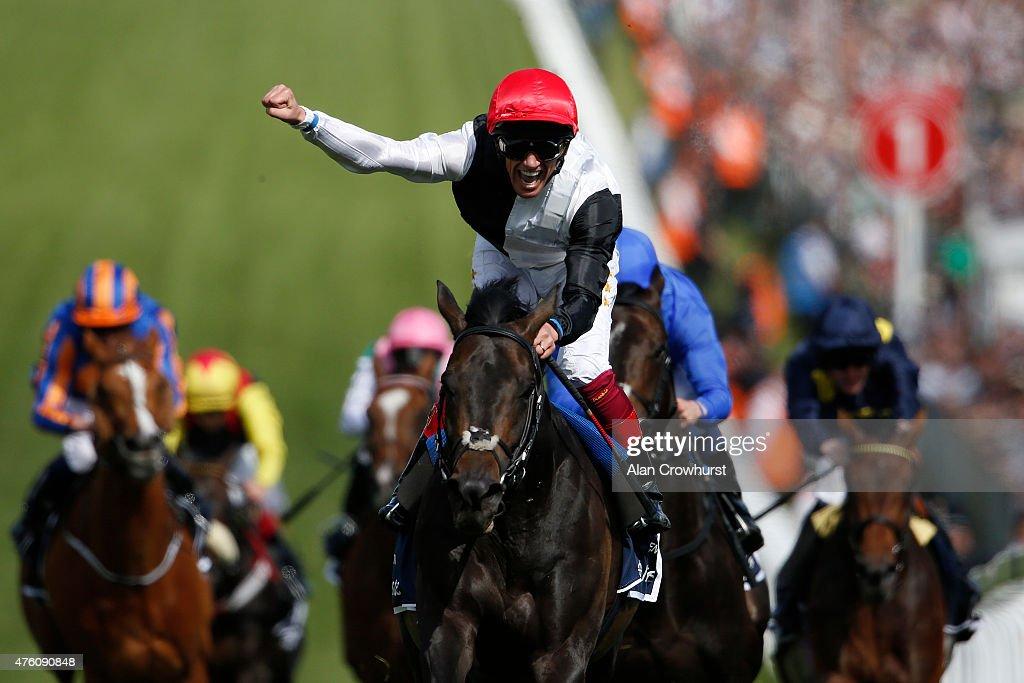 Frankie Dettori riding Golden Horn win The Investec Derby at Epsom racecourse on June 06 2015 in Epsom England