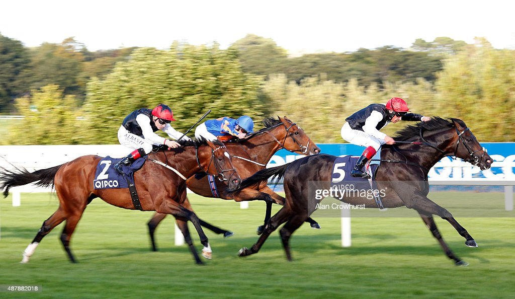 Frankie Dettori riding Golden Horn win The Qipco Irish Champion Stakes at Leopardstown racecourse on September 12 2015 in Dublin Ireland