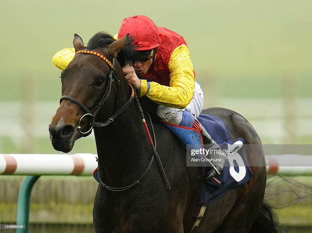 <a gi-track='captionPersonalityLinkClicked' href=/galleries/search?phrase=Frankie+Dettori&family=editorial&specificpeople=167142 ng-click='$event.stopPropagation()'>Frankie Dettori</a> riding Goodwood Mirage win The Thoroughbred Breeders' Association Maiden Stakes at Newmarket racecourse on October 24, 2012 in Newmarket, England.