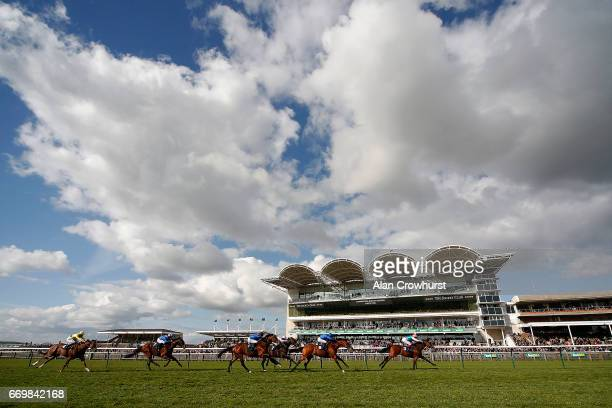 Frankie Dettori riding Jewel House win The Alex Scott Maiden Stakes at Newmarket Racecourse on April 18 2017 in Newmarket England