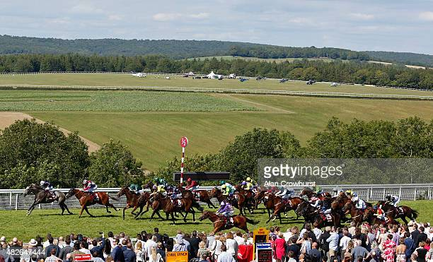 Frankie Dettori riding Magical Memory win The Qatar Stewards' Cup at Goodwood racecourse on August 01 2015 in Chichester England