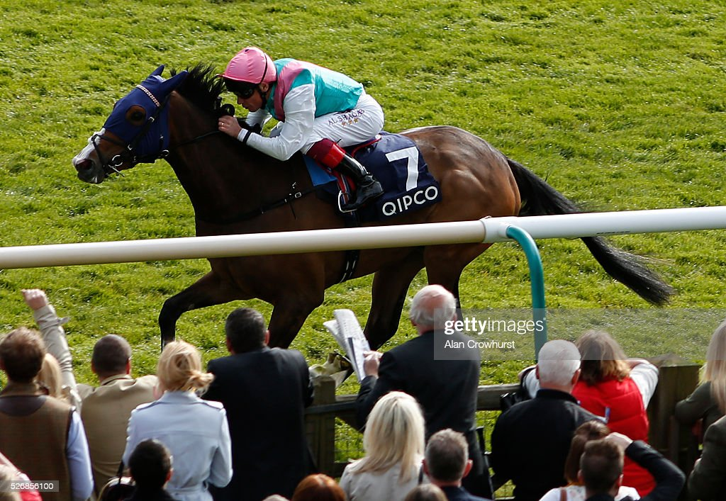 Frankie Dettori riding Swiss Range win The Tweenhills Pretty Polly Stakes at Newmarket racecourse on May 1, 2016 in Newmarket, England.