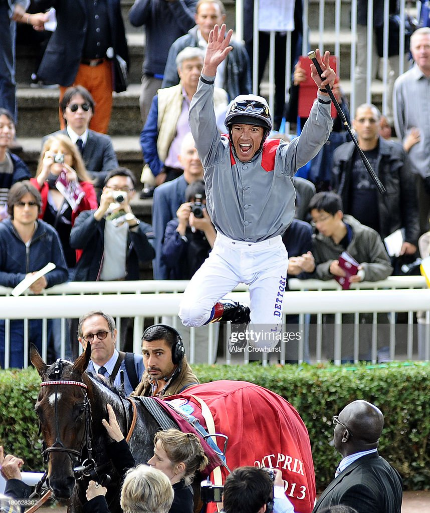 <a gi-track='captionPersonalityLinkClicked' href=/galleries/search?phrase=Frankie+Dettori&family=editorial&specificpeople=167142 ng-click='$event.stopPropagation()'>Frankie Dettori</a> riding Treve celebrate winning The Qatar Prix Vermeille at Longchamp racecourse on September 15, 2013 in Paris, France.