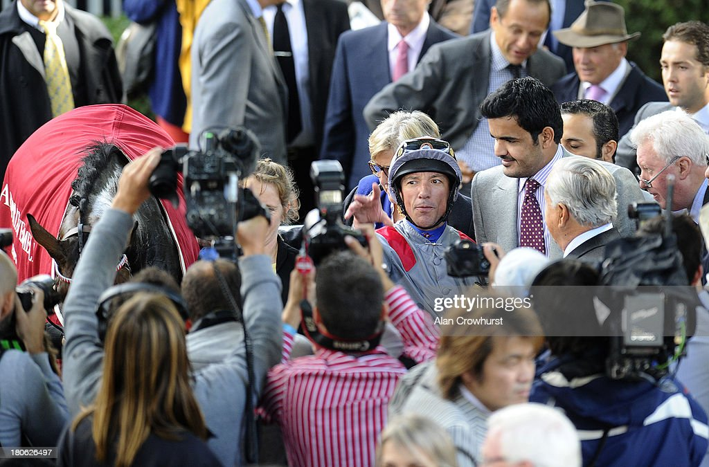<a gi-track='captionPersonalityLinkClicked' href=/galleries/search?phrase=Frankie+Dettori&family=editorial&specificpeople=167142 ng-click='$event.stopPropagation()'>Frankie Dettori</a> riding Treve win The Qatar Prix Vermeille with owner Sheikh Joaan Bin Hamad Al Thani at Longchamp racecourse on September 15, 2013 in Paris, France.