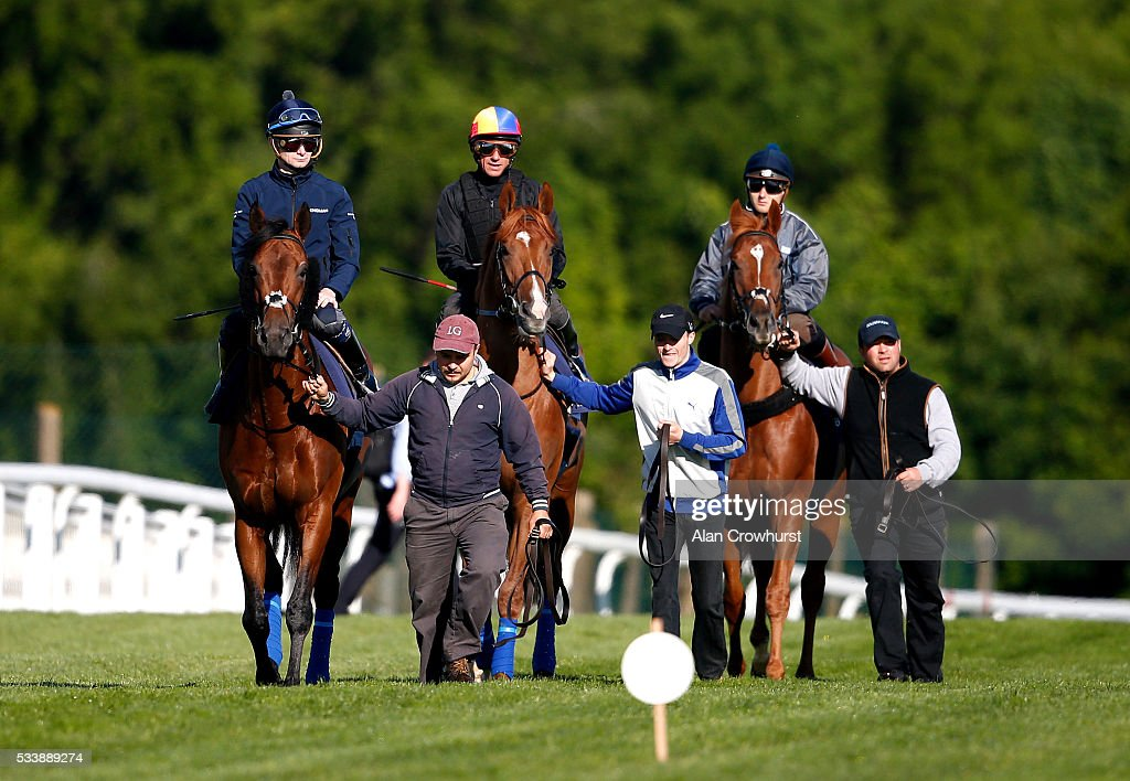 <a gi-track='captionPersonalityLinkClicked' href=/galleries/search?phrase=Frankie+Dettori&family=editorial&specificpeople=167142 ng-click='$event.stopPropagation()'>Frankie Dettori</a> riding Wings Of Desire (C) during the 'Breakfast with the Stars' morning at Epsom Racecourse on May 24, 2016 in Epsom, England.