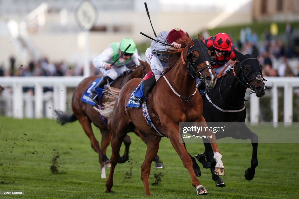 Frankie Dettori riding Zwayyan win The Neptune Investment management Classified Stakes at Ascot racecourse on October 6, 2017 in Ascot, United Kingdom.