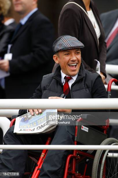 Frankie Dettori sits in a wheelchair in the disabled area watching the parade ring he broke his ankle at Nottingham in in October at Newmarket...