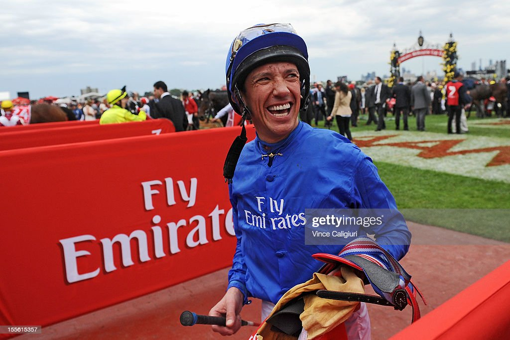 <a gi-track='captionPersonalityLinkClicked' href=/galleries/search?phrase=Frankie+Dettori&family=editorial&specificpeople=167142 ng-click='$event.stopPropagation()'>Frankie Dettori</a> smiling after he rode in his last Emirates Melbourne Cup during 2012 Melbourne Cup Day at Flemington Racecourse on November 6, 2012 in Melbourne, Australia.