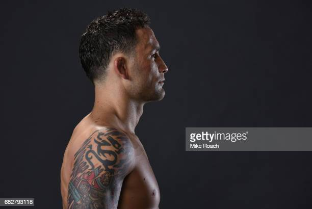 Frankie Edgar poses for a post fight portrait backstage during the UFC 211 event at the American Airlines Center on May 13 2017 in Dallas Texas