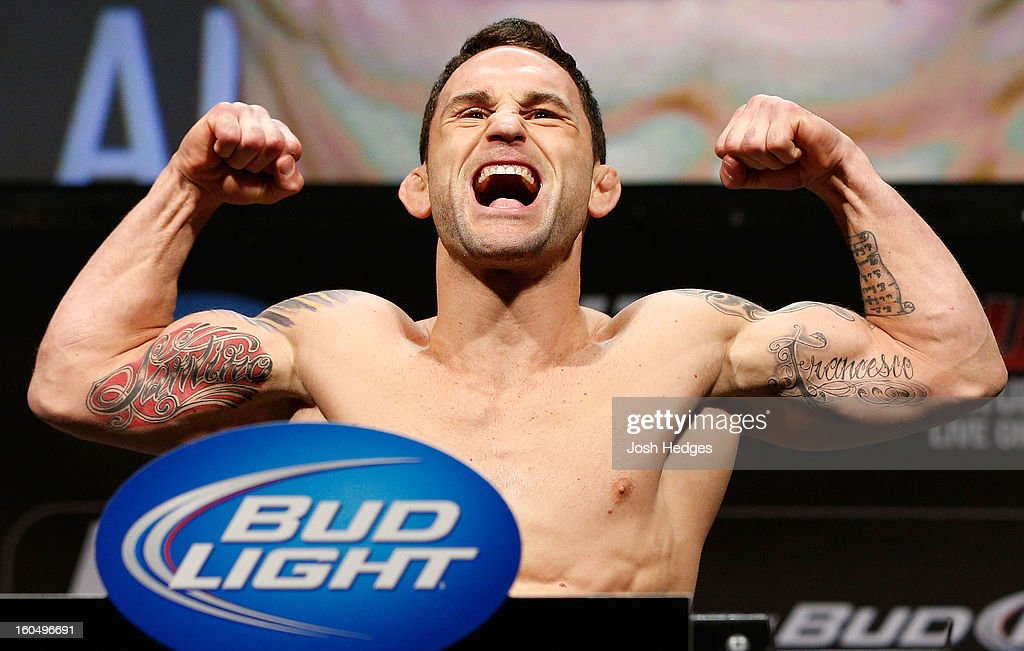 <a gi-track='captionPersonalityLinkClicked' href=/galleries/search?phrase=Frankie+Edgar&family=editorial&specificpeople=5446046 ng-click='$event.stopPropagation()'>Frankie Edgar</a> weighs in during the UFC 156 weigh-in on February 1, 2013 at Mandalay Bay Events Center in Las Vegas, Nevada.