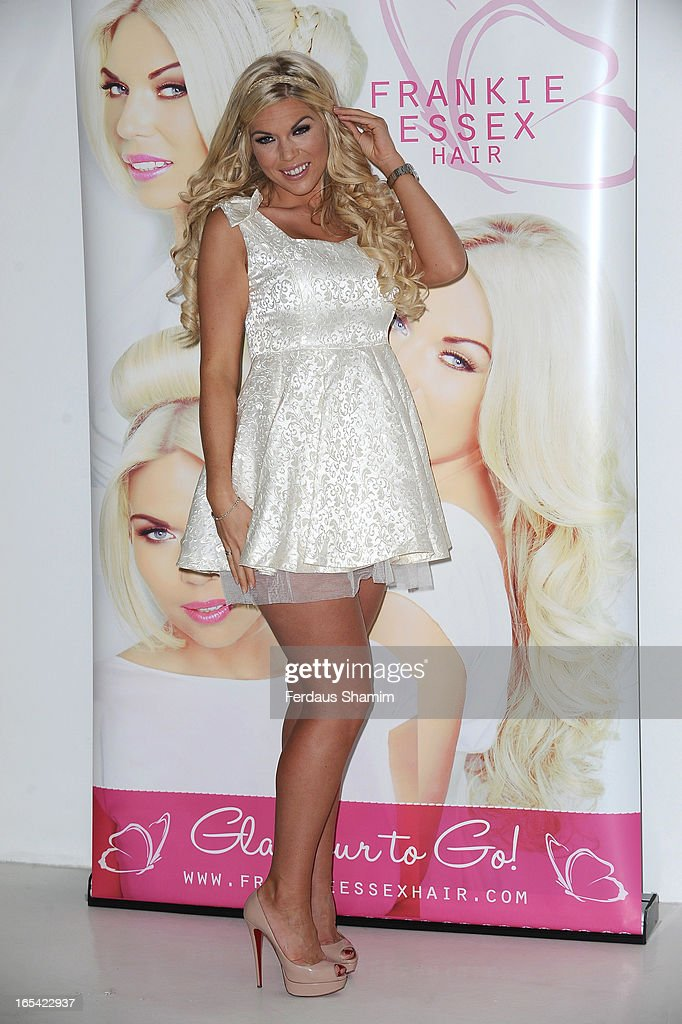 Frankie Essex attends a photocall to launch her own range of hair extensions at The Worx Studios on April 4, 2013 in London, England.