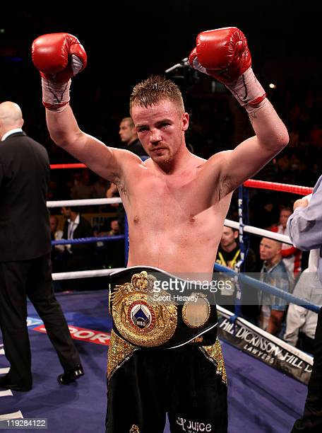 Frankie Gavin is announced the winner during the WBO Intercontinental Welterweight Championship bout with Curtis Woodhouse bout at Echo Arena on July...