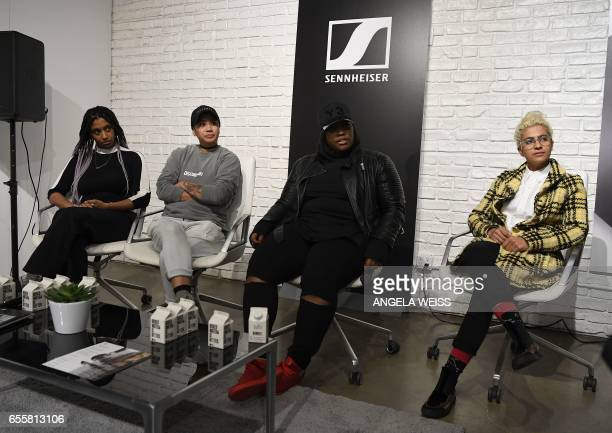Frankie Hutchinson and Christine Tran of Discwoman Crystal Caines and Madame Gandhi attend the Women in Sound event pesented by Sennheiser on March...