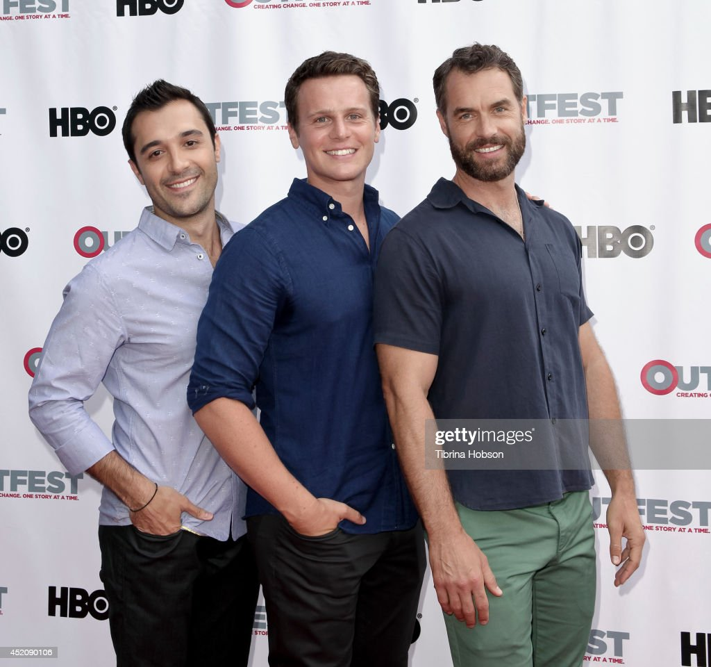 Frankie J. Alvarez, <a gi-track='captionPersonalityLinkClicked' href=/galleries/search?phrase=Jonathan+Groff&family=editorial&specificpeople=2994250 ng-click='$event.stopPropagation()'>Jonathan Groff</a> and Murray Bartlett attend the 2014 Outfest Los Angeles panel discussion for 'Inside Looking' at DGA Theater on July 12, 2014 in Los Angeles, California.