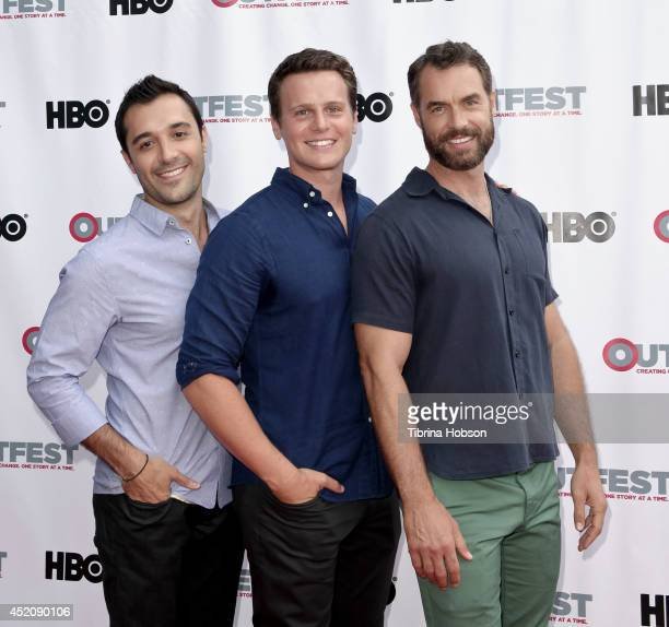 Frankie J Alvarez Jonathan Groff and Murray Bartlett attend the 2014 Outfest Los Angeles panel discussion for 'Inside Looking' at DGA Theater on July...