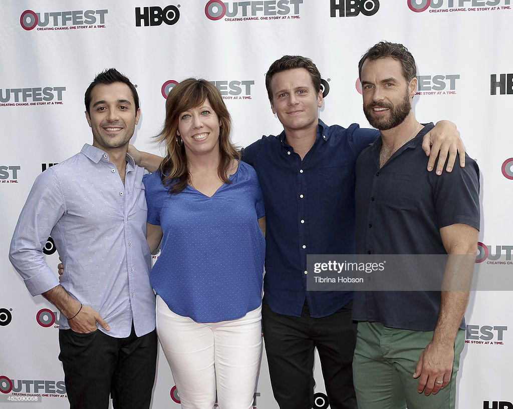 Frankie J. Alvarez, Kirsten Schaffer, <a gi-track='captionPersonalityLinkClicked' href=/galleries/search?phrase=Jonathan+Groff&family=editorial&specificpeople=2994250 ng-click='$event.stopPropagation()'>Jonathan Groff</a> and Murray Bartlett attend the 2014 Outfest Los Angeles panel discussion for 'Inside Looking' at DGA Theater on July 12, 2014 in Los Angeles, California.