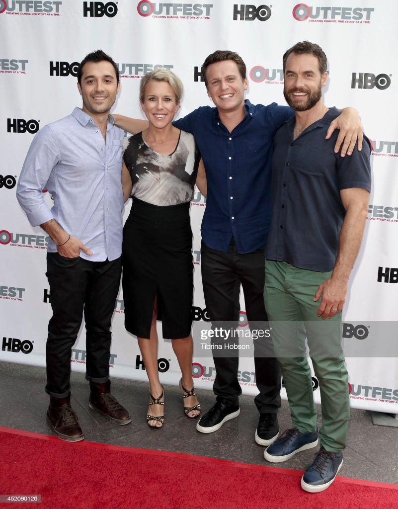 Frankie J. Alvarez, Lauren Weedman, <a gi-track='captionPersonalityLinkClicked' href=/galleries/search?phrase=Jonathan+Groff&family=editorial&specificpeople=2994250 ng-click='$event.stopPropagation()'>Jonathan Groff</a> and Murray Bartlett attend the 2014 Outfest Los Angeles panel discussion for 'Inside Looking' at DGA Theater on July 12, 2014 in Los Angeles, California.