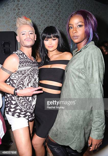 Frankie J Grande Kylie Jenner and Justine Skye attend Republic Records 2015 VMA after party at Ysabel on August 30 2015 in West Hollywood California