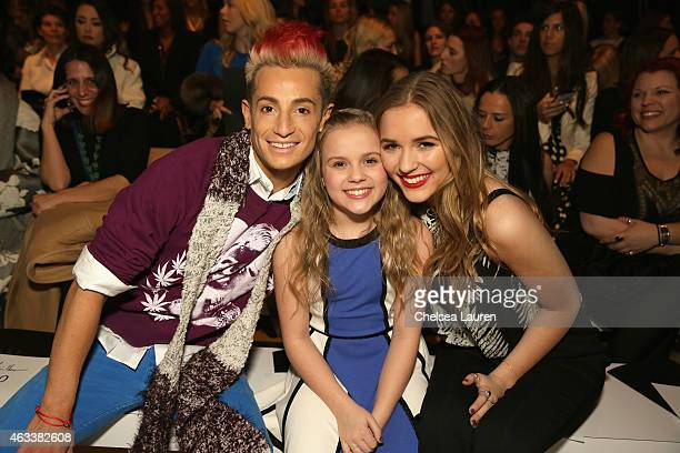 Frankie J Grande Maisy Stella and Lennon Stella attend the Nicole Miller fashion show during MercedesBenz Fashion Week Fall 2015 at The Salon at...