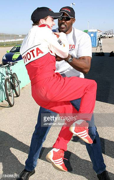 Frankie Muniz and Karl Malone during 2005 Toyota Pro/Celebrity Race Driver Training at Willow Springs International Raceway in Rosamond California...