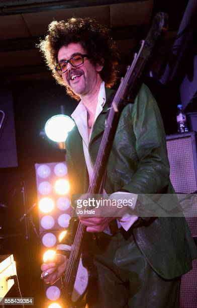 Frankie Poullain of The Darkness performs on stage at HMV Oxford Street on October 6 2017 in London England