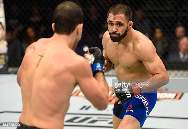 Frankie Saenz circles Augusto Mendes of Brazil in their bantamweight bout during the UFC Fight Night event inside Talking Stick Resort Arena on...